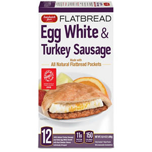 Sandwich Brothers Egg White and Turkey Sausage Flatbread Sandwich (2 lb. 4 oz., 12 ct.)