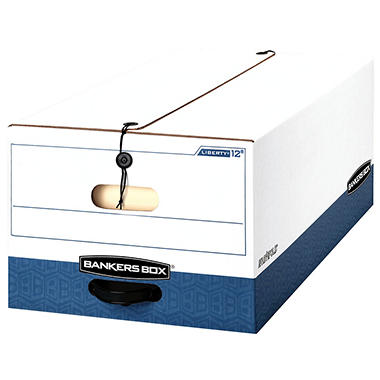 Bankers Box - LIBERTY Heavy-Duty Strength Storage Box, Legal, 15 x 24 x 10, White/Blue -  12/CT