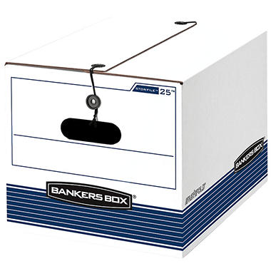 Bankers Box - STOR/FILE Extra Strength Storage Box, Letter/Legal, White/Blue -  12/Carton