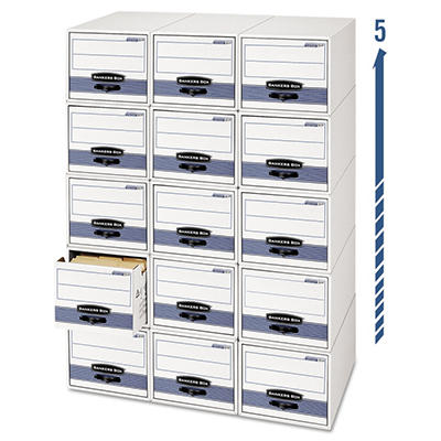 Bankers Box - Stor/Drawer Steel Plus Storage Box - Check Size - Wire - White/Blue - 12/Carton