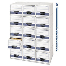 Bankers Box - STOR/DRAWER Steel Plus Storage Box, Letter, White/Blue -  6/Carton