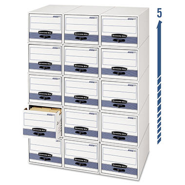Bankers Box - Stor/Drawer Steel Plus Storage Box - Legal or Letter - White/Blue - 6/Carton