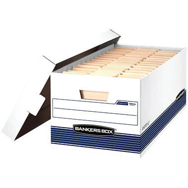 Bankers Box - STOR/FILE Storage Box, Letter, Lift Lid , 12 x 24 x 10, White/Blue -  12/Carton