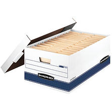 Bankers Box - STOR/FILE Storage Box, Legal, Locking Lid, White/Blue -  12/Carton
