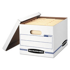 Bankers Box - STOR/FILE Storage Box, Letter/Legal, Lift-off Lid, White/Blue -  12/Carton