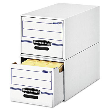 Bankers Box - STOR/DRAWER File Drawer Storage Box, Letter, White/Blue -  6/Carton