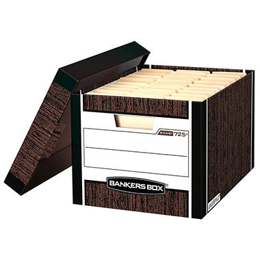 Bankers Box - R-Kive Max Storage Box, Woodgrain - 12 Count