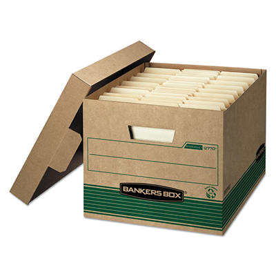Bankers Box - Stor/File Extra Strength Storage Box - Letter/Legal - Kraft/Green - 12/Carton