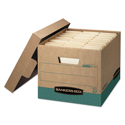 Bankers Box - R-Kive Storage Box - Letter/Legal - Locking Lift-off Lid - Kraft/Green - 12/Carton
