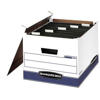 Bankers Box - Hang 'N' Stor Storage Box - Legal/Letter - Lift-off Lid - White/Blue - 4/Carton