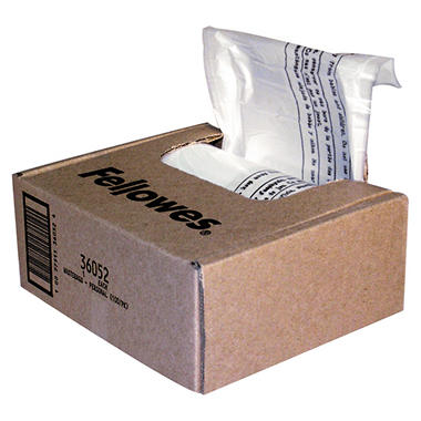 Fellowes Powershred Shredder Bags, 6-7 gal Capacity, Clear - 100 ct.