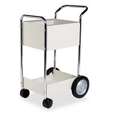 Fellowes - Steel Mail Cart, 75-Folder Capacity, 20w x 25-1/2d x 39h -  Dove Gray