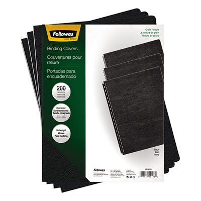 Fellowes Classic Grain Presentation Covers - Oversize - Black - 200 pk.