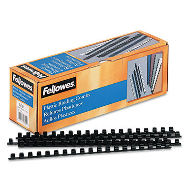 "Fellowes Plastic Comb Bindings, 3/8"" Diameter, 55 Sheet Capacity, Black - 100 Combs/Pack"