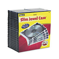 Fellowes - Slim Jewel Case, Clear/Black -  100/Pack