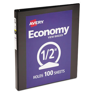 "Avery - Economy Vinyl Round Ring View Binder, 1/2"" Capacity - Black"