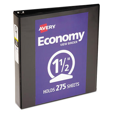 "Avery Economy Vinyl Round Ring View Binder, 1 1/2"" Capacity - Black"
