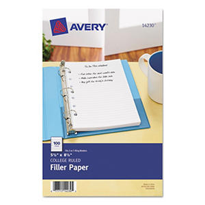 "Avery - Mini Binder Filler Paper - College Ruled - 8 1/2"" x 5 1/2"" - 100 Sheets"
