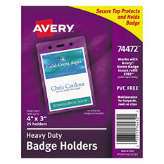 Avery - Badge Holders, Vertical, 3w x 4h, Clear -  25/Pack