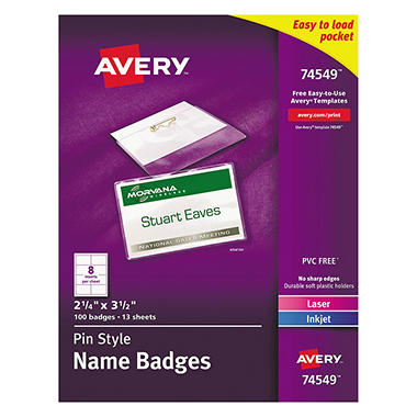 Avery Laser/Inkjet Pin Style Name Badge Holders