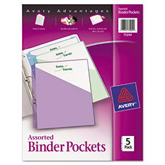 Avery® Ring Binder Letter Poly. Pockets - 5 pk.