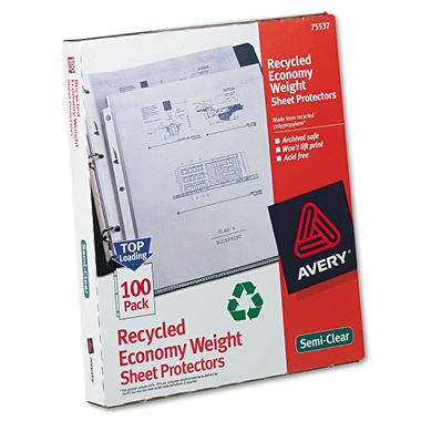 Avery - Recycled Economy Sheet Protectors, Semi-Clear - 100 Count