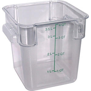 Carlisle Square Plastic Food Container, Clear - 4 Quart