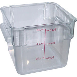 Carlisle Square Plastic Food Storage Container, Clear - 6 Quart