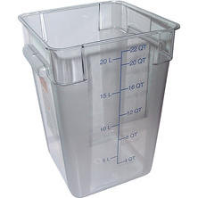 Carlisle Square Plastic Food Storage Container, Clear - 22 Quart