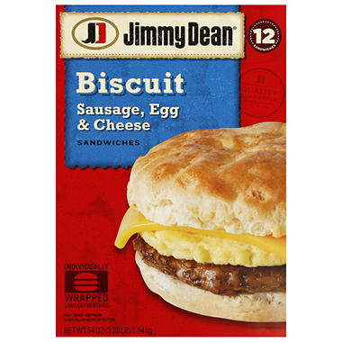 Jimmy Dean® Sausage, Egg & Cheese Biscuit - 12 ct.