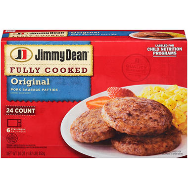 Jimmy Dean Pork Sausage Patties, Fully Cooked (24 ct.)