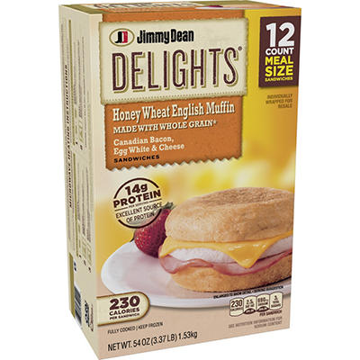 Jimmy Dean Delights Canadian Bacon, Egg White & Cheese English Muffin Sandwiches (12 ct., 54 oz.)