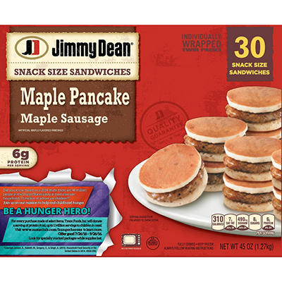 Jimmy Dean Maple Sausage Maple Pancake Snack Size Sandwiches - 48 oz.