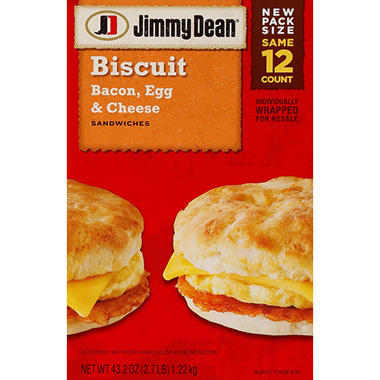 Jimmy Dean Bacon, Egg & Cheese Biscuit Sandwiches - 12 ct.