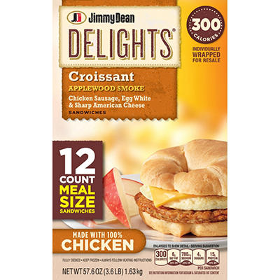 Jimmy Dean Delights Applewood Smoked Chicken Sausage, Egg White & Sharp American Cheese Croissant Sandwiches (12 ct., 57.6 oz.)
