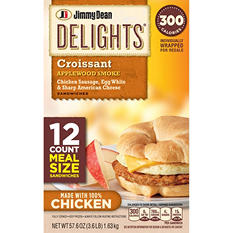 Jimmy Dean Delights Applewood Smoked Chicken Sausage, Egg White & Cheese Croissant Sandwiches (12 ct., 57.6 oz.)