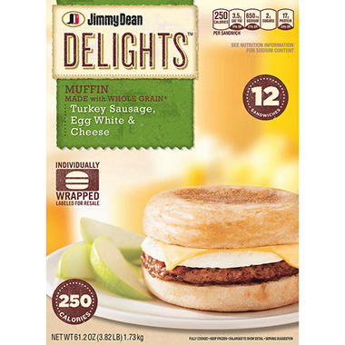 Jimmy Dean® Delights™ Turkey Sausage, Egg White & Cheese Sandwiches - 12 ct.