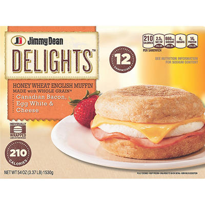 Jimmy Dean Delights Canadian Bacon Egg White & Cheese English Muffin Sandwiches - 54 oz.