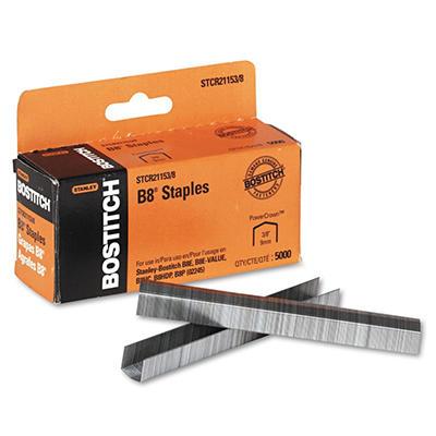 Stanley Bostitch - B8 Powercrown Staples, 3/8 Inch Leg Length - 5,000 Pack