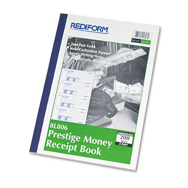 Rediform Money Receipt Book, 7 x 2 3/4, Carbonless Duplicate, 200 Sets per Book
