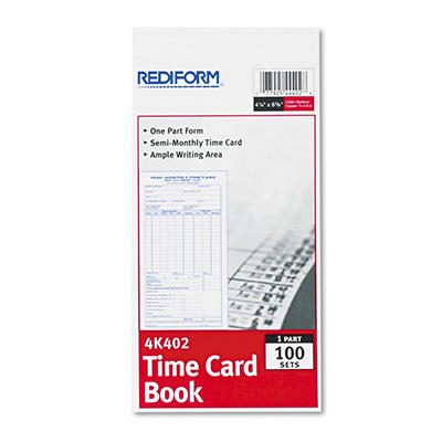 Rediform Employee Time Card, Semi-Monthly, 4-1/4 x 8, 100 per Pad