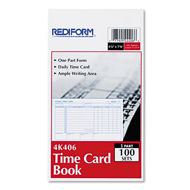 Rediform - Employee Time Card, Daily, Two-Sided, 4-1/4 x 7 -  100/Pad