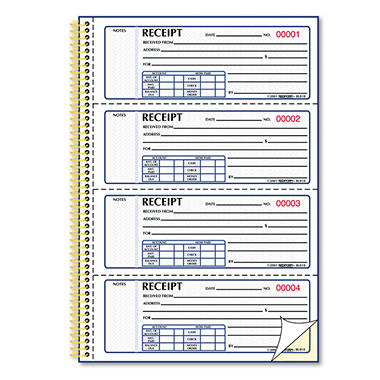 "Money Receipt Books - 2-3/4"" x 7"""