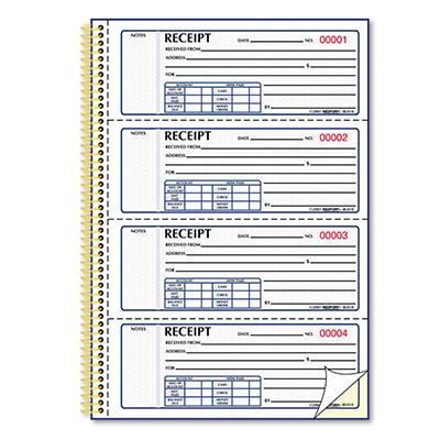"Money Receipt Books - 2-3/4"" x 7"""
