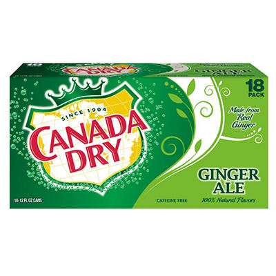 Canada Dry Ginger Ale, 12 Oz Cans 18 PK