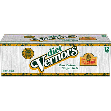 Diet Vernors Ginger Ale 12 Pack of 12oz Cans