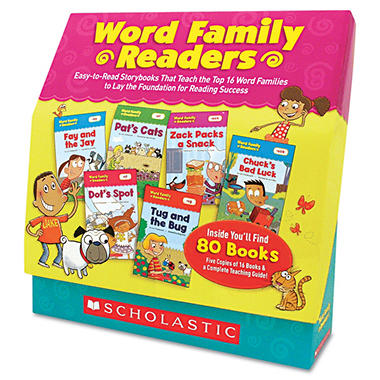 Scholastic - Word Family Readers Set, 80 Books/16 Pages and Teaching Guide -  Grades K-2