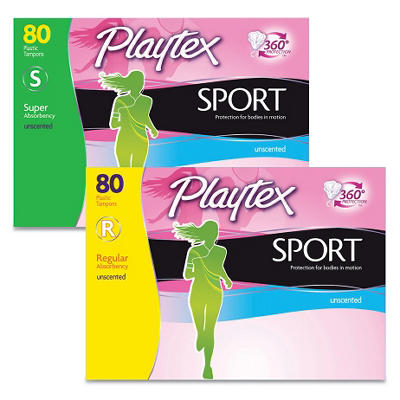 Playtex Sport Tampons - Regular or Super - 80 ct.