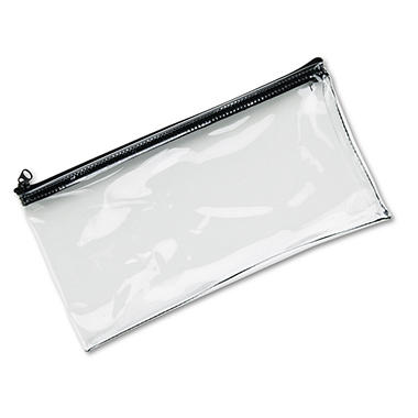 "MMF Industries - Leatherette Zippered Wallet, Faux Leather Vinyl, 11""W x 6""H - Clear"