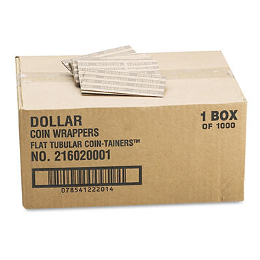 Coin-Tainer Company - Flat Tubular Coin Wrappers, Dollar Coin, $25, Pop-Open Wrappers -  1000/Box